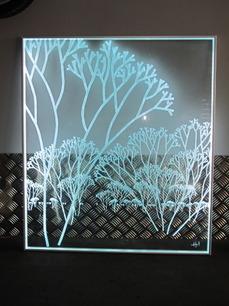 plaque en verre avec leds atelier du verre cr ations. Black Bedroom Furniture Sets. Home Design Ideas