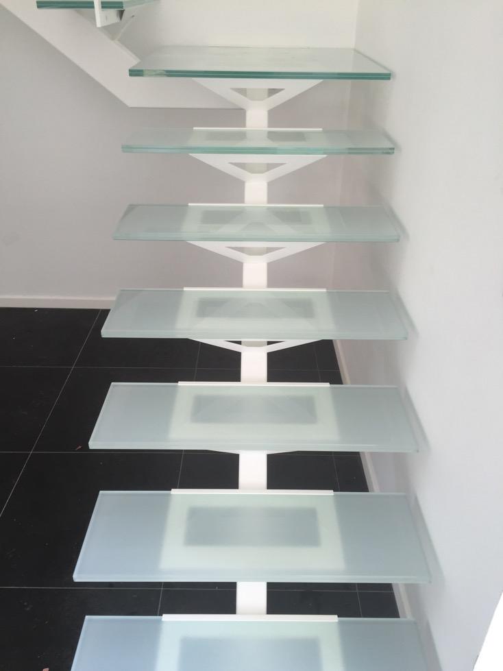 Escalier en verre et m tal atelier du verre cr ations - Escalier verre et metal ...